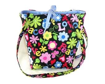 Love Purse, Small Tote Bag, Love, Peace, Flowers, Teen Purse, Handmade Handbag, Black Fabric Bag, Floral Cloth Purse, Shoulder Bag