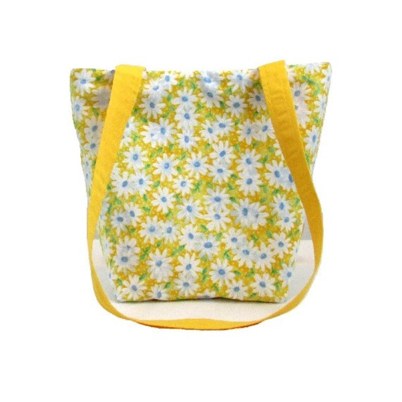 Yellow Purse Floral Fabric Bag Small Tote Bag Handmade image 0
