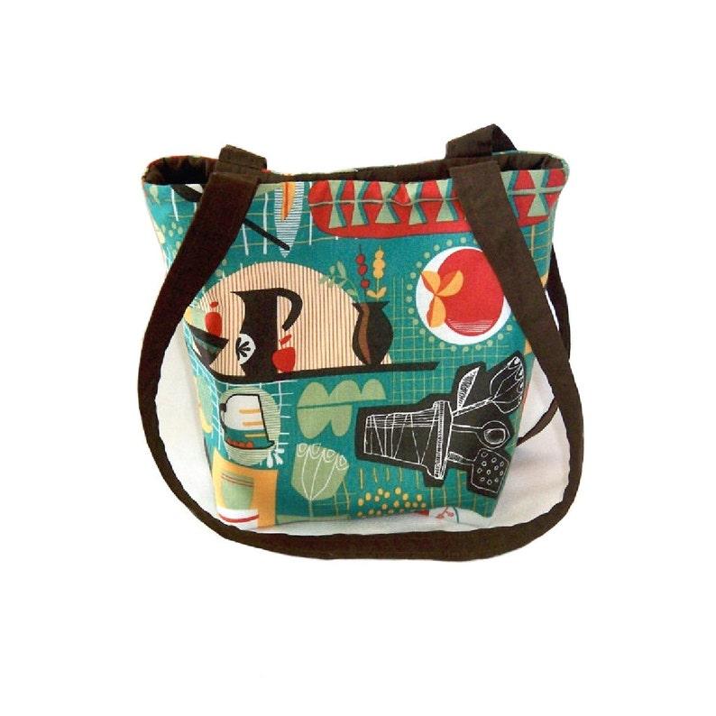 Teal Kitchen Purse Small Tote Bag Handmade Handbag Kitschy image 0