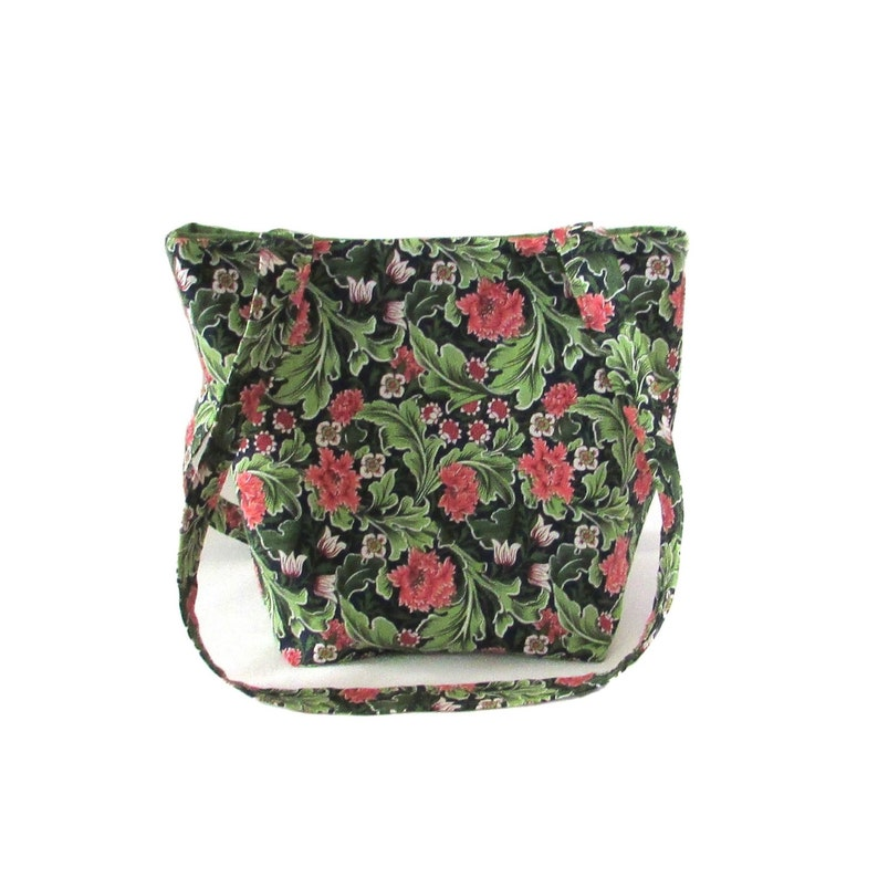 Floral Purse Small Tote Bag Green Leaves Coral Carnations image 0