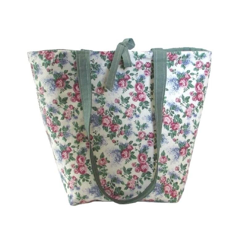 3e750397b0ca Floral Tote Bag Cloth Purse Pink Roses Purple Lilacs