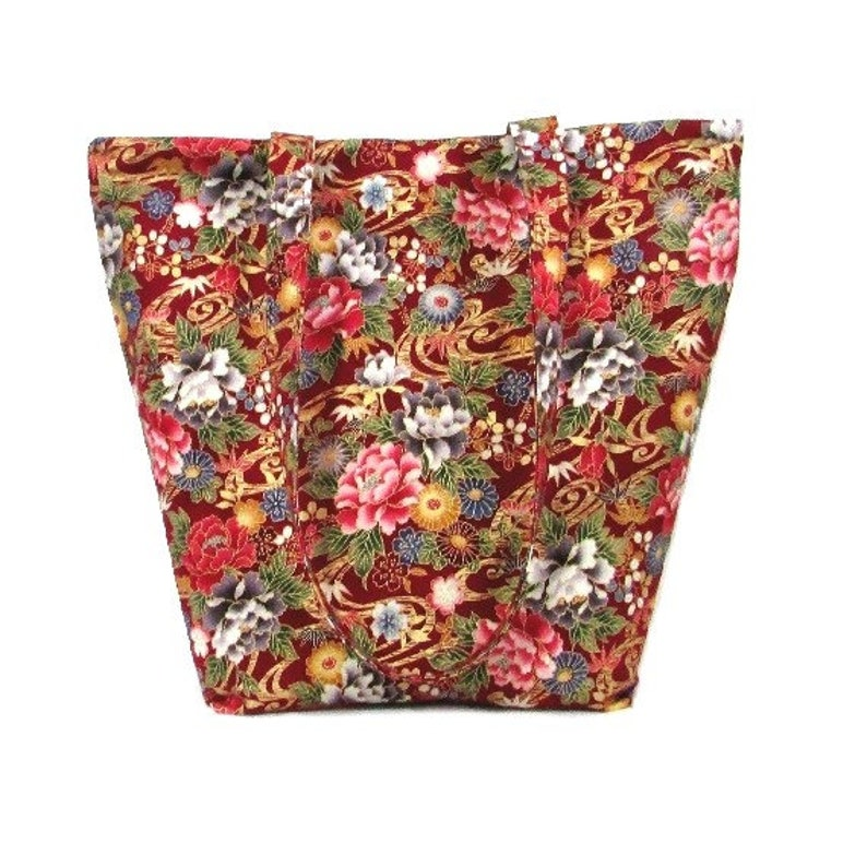 Red Floral Tote Bag Fabric Purse with Multi Color Flowers image 0