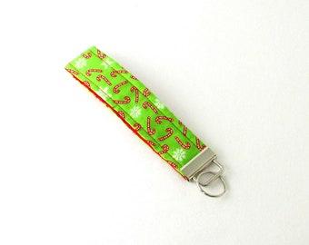 Candy Cane Key Fob, Christmas Keychain, Green Fabric Key Holder, Snowflake KeyFob, Cloth Key Lanyard, Stocking Stuffer