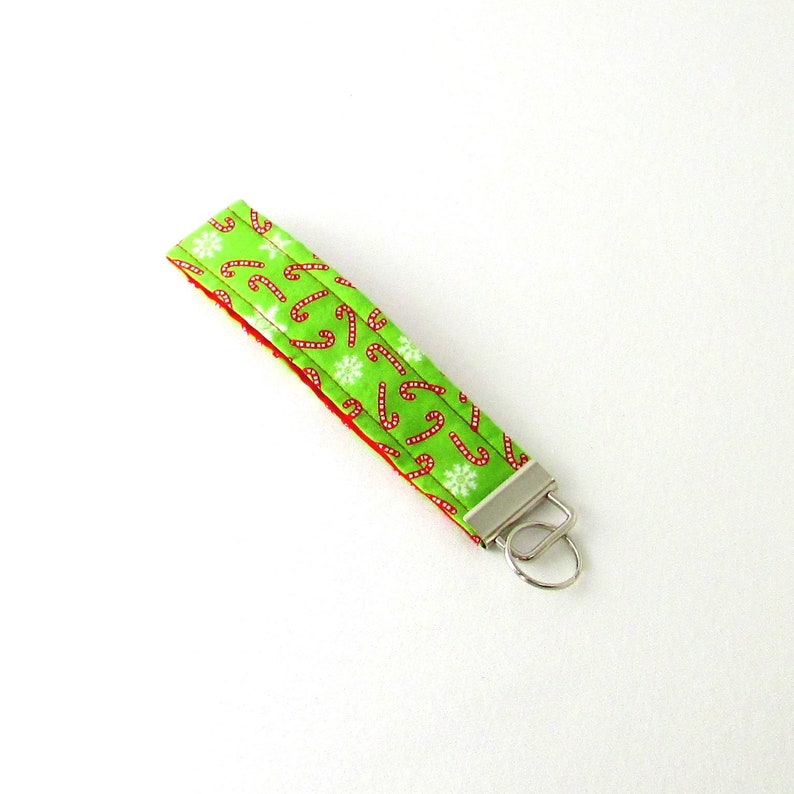 Candy Cane Key Fob Christmas Keychain Green Fabric Key image 0