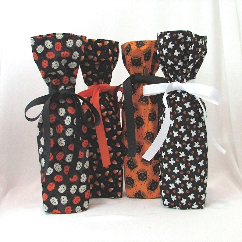 Halloween Wine Bottle Gift Bags Set of 4 Gift Wrap for image 0