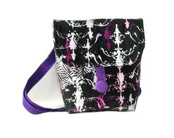 Black Crossbody Bag, Hipster Purse, Small Messenger Bag, Handmade Purse, Purple, Black, White, Zebra Print, Fabric Bag, Shoulder Bag