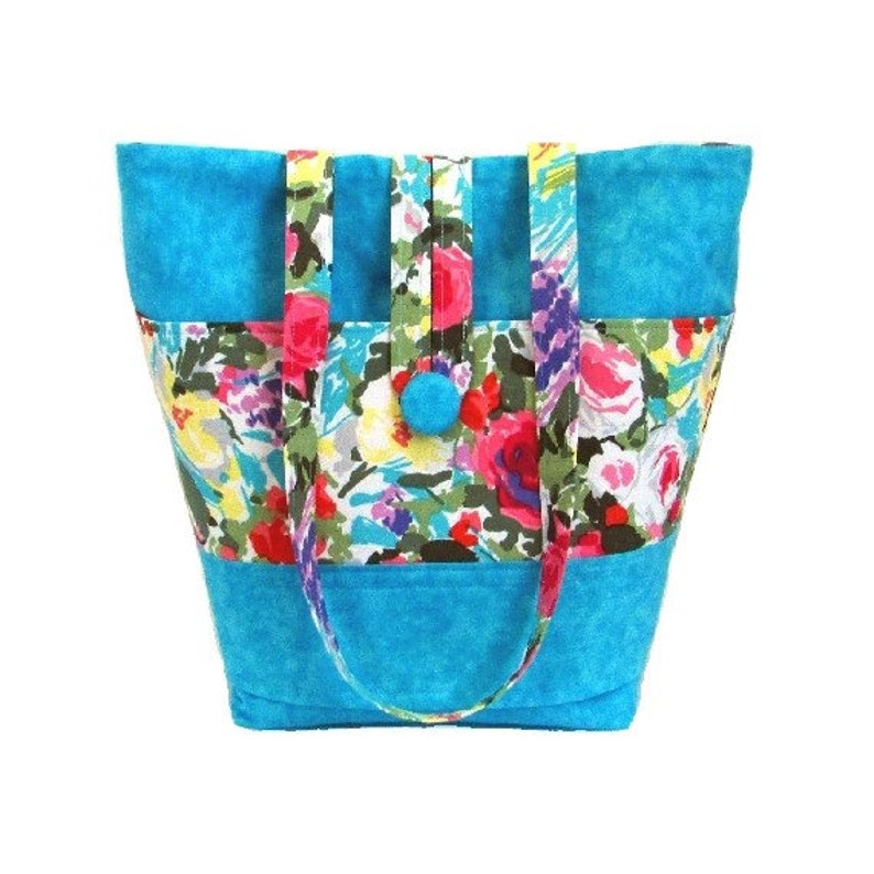 Blue Floral Shoulder Bag Cloth Purse Fabric Bag Handmade image 0