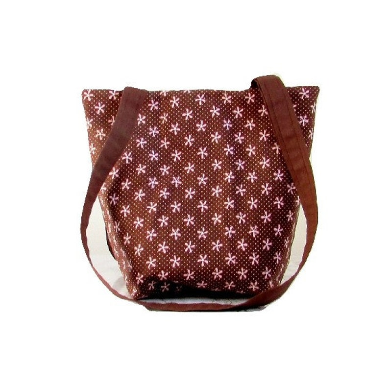 Brown Purse Small Tote Bag Pink Flowers Pink Polka Dots image 0