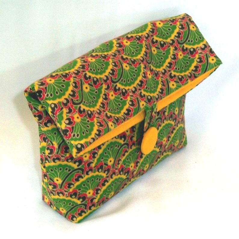 Green Cosmetic Bag Makeup Bag Clutch Purse Fabric Bag image 0
