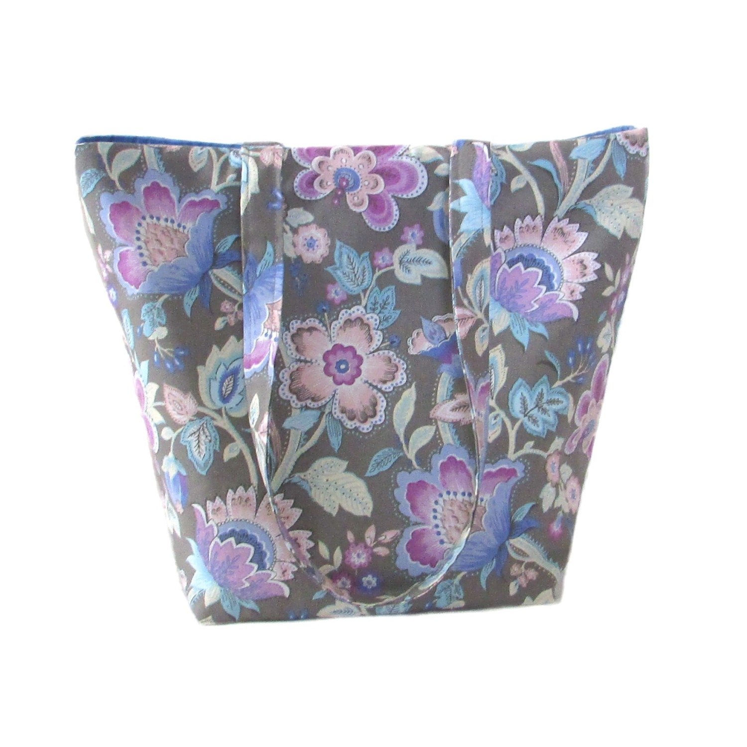 Muted Blue And Floral Red: Floral Tote Bag Gray Fabric Purse Blue Floral Pink Flowers