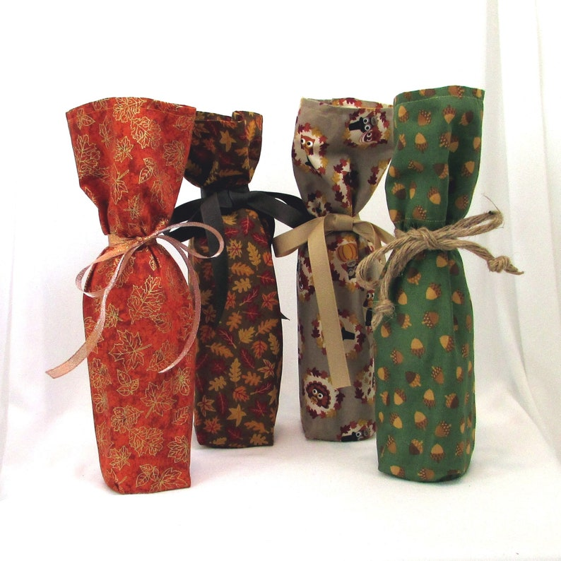Fall Wine Bottle Gift Bags Set of 4 Reusable Gift Bags image 0
