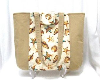 Sea Shells Shoulder Bag, Beige Fabric Tote Bag, Beach, Starfish, Sand, Vacation, Handmade Purse, Cloth Bag