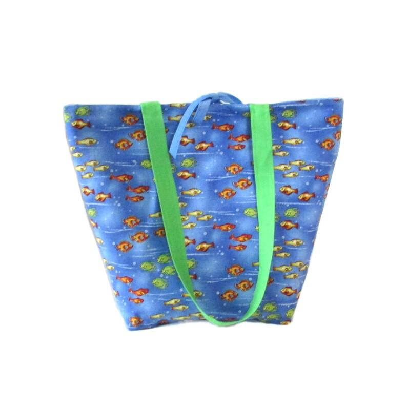 Goldfish Tote Bag Blue Handmade Handbag Fabric Bag Tropical image 0
