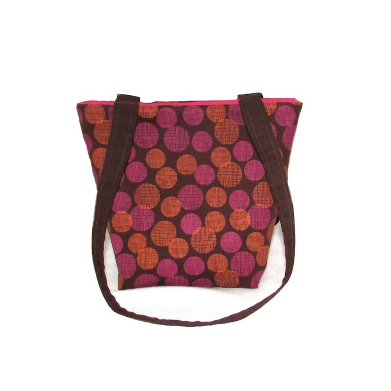 Polka Dot Purse Small Tote Bag Brown Fabric Bag Cloth image 0