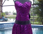 Gunne Sax by Jessica McClintock Purple with Black Velvet Formal Dress