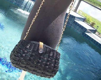 Navy Blue Woven Wicker Purse