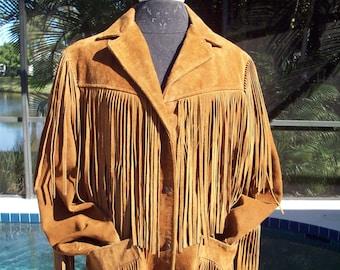 23a4f23c3e6 Vintage Camel Color Suede Leather Fringe Jacket by Rancher