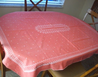 E12535 Vintage Tan and Pink Floral Mandala Stamped Tablecloth