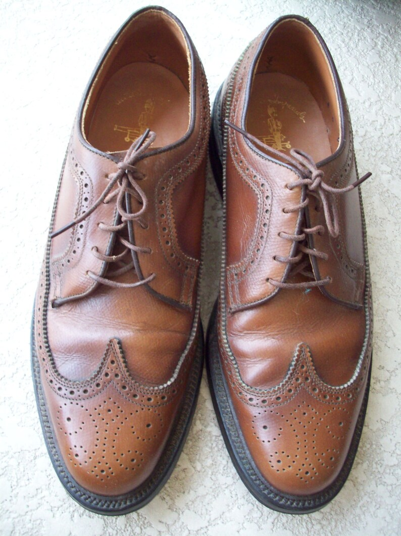 Mens Brown Leather Wingtip Shoes