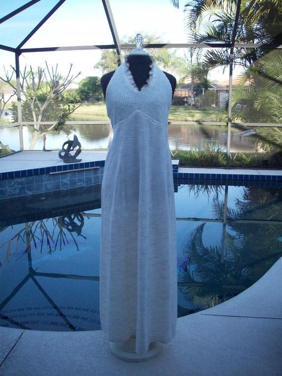 Vintage Cream Halter Dress