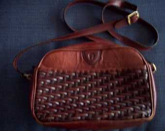 Genuine Leather Woven Wicker Purse by Etienne Aigner