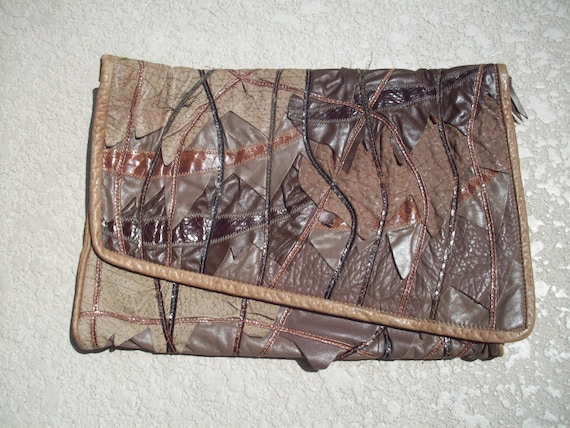 Leather and Snake Skin Cutch by 7 Seven Handbags b