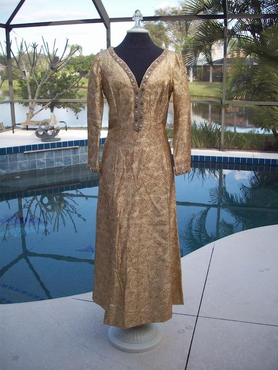 Vintage Long Gold Shiny Lame Evening Dress
