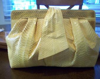 Yellow Reptile Snake Skin Clutch by J. Renee