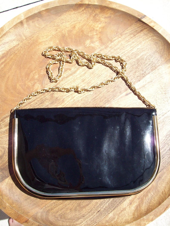 Vintage Black with Gold Trim Patent Leather Purse