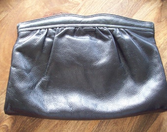 Black Leather Purse/Clutch with a touch of snake Skin by Bags by Supreme