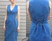 Vintage Denim Dress corset tie back Sz 6 S M button front v neck sleeveless Patty USA blue Jean