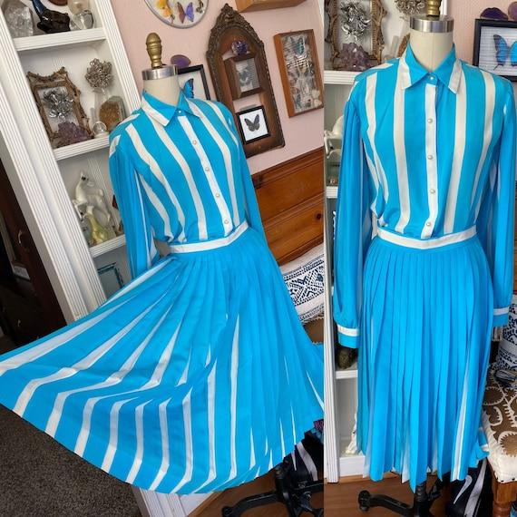 Vtg David Hayes Silk Knife Pleated Skirt Blouse Se