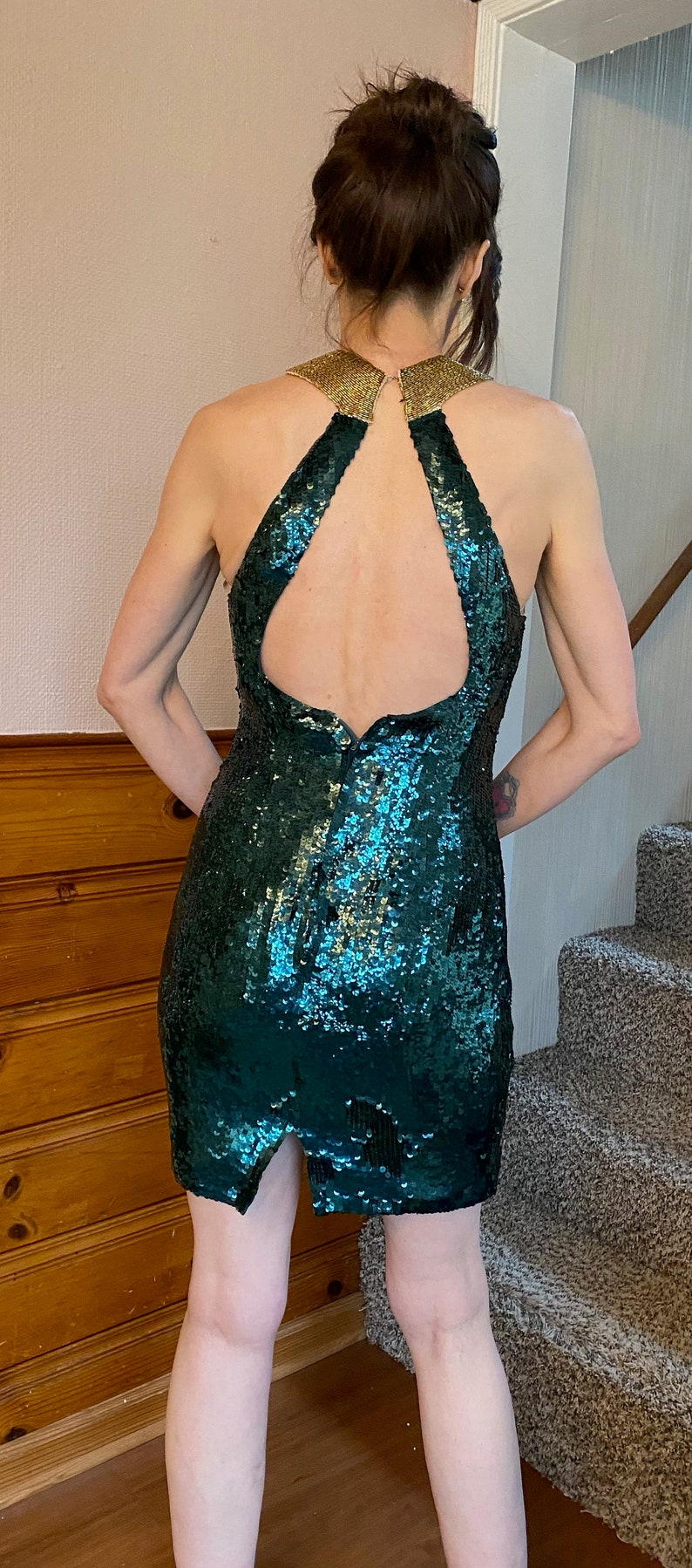 Vtg Beaded Sequin Open Back Cocktail Dress Sz 4 6 Robert Anthony 80/'s 90/'s Party Evening green gold Wiggle