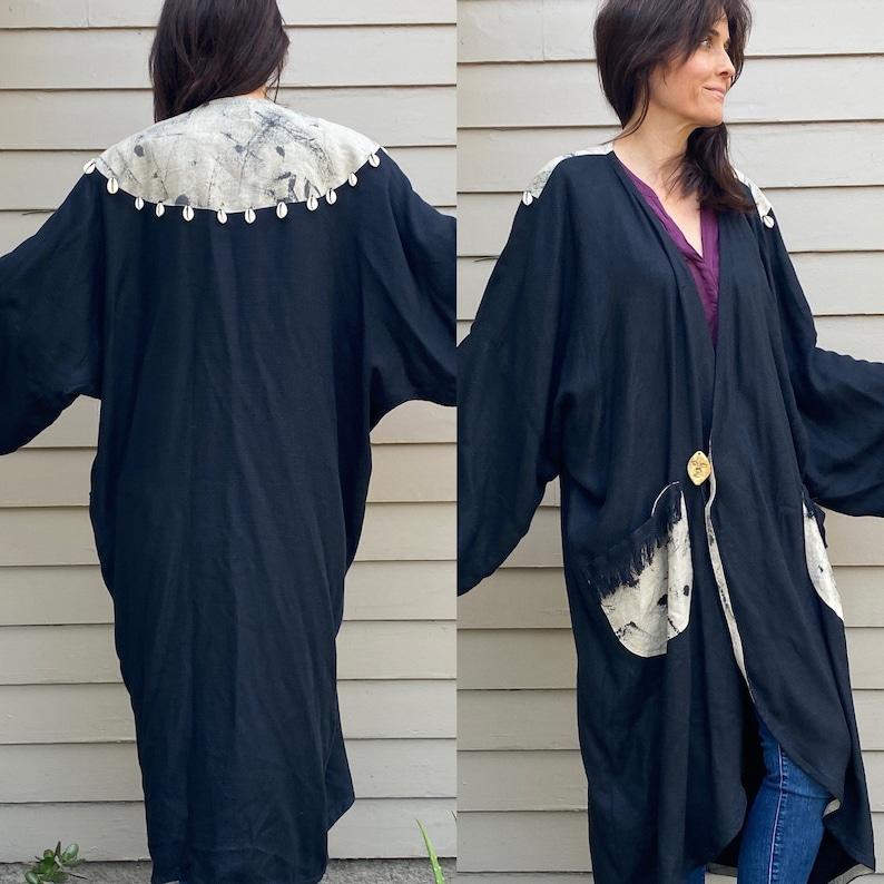 Kimono Coat OSFA Seashell L XL Art-to-Wear Fringe Embellished black Duster Vintage