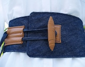 Denim and Leather Corset Belt with Leather Toggle Closure