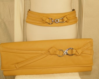 Desert Tan Yellow Extra Lean and Long Clutch Envelope Handbag with Silver Hook