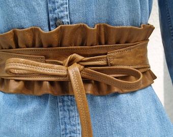 Lambskin Leather Ruffle Belt Made to Order