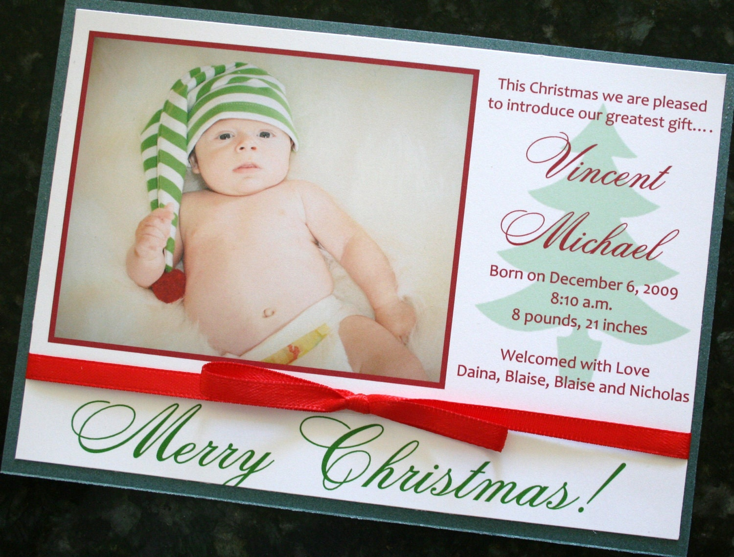 Christmas Card Birth Announcement | Etsy
