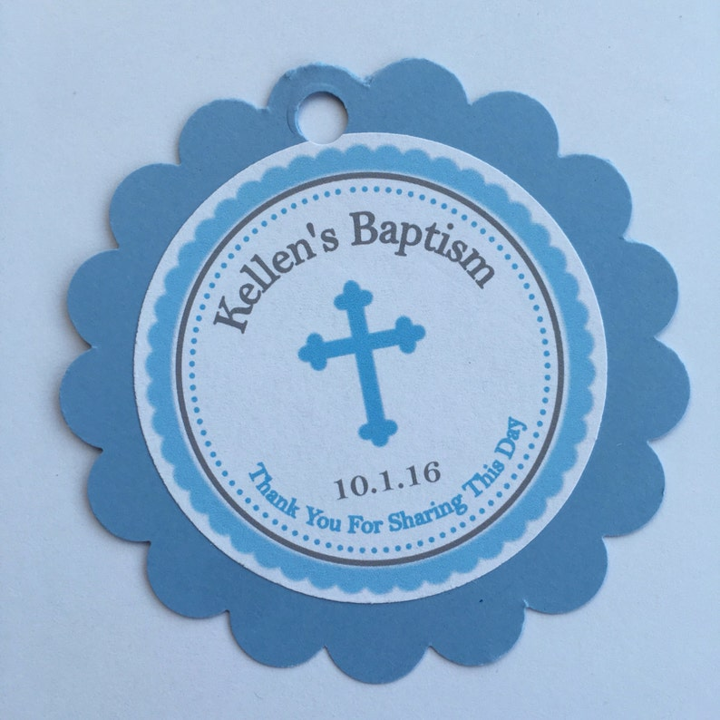 Boy Classy Cross Baptism-Communion Circular Scalloped Favor Tags