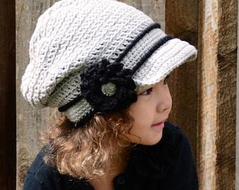 Crochet Hat PATTERN - Newsboy Slouchy - crochet pattern for boy girl ... c8a28d3f2df1