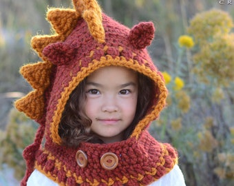 Crochet PATTERN - Lucky Dragon Hood & Cowl - crochet hood pattern hooded cowl hat pattern (Toddler Child Adult sizes) - Instant PDF Download