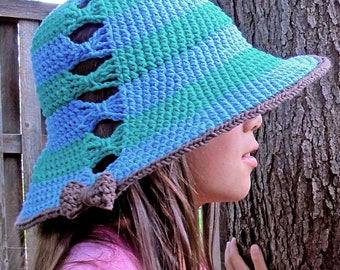 CROCHET PATTERN - Fashionista - crochet sun hat pattern, summer hat pattern, beach hat (Toddler, Child, Adult sizes) - Instant PDF Download