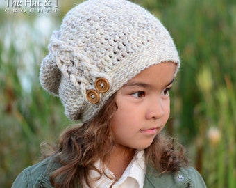 Crochet Hat PATTERN - Buttons & Braids Slouchy - crochet pattern for slouchy hat w/ braid (Toddler Child Adult sizes) - Instant PDF Download