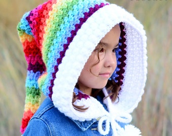 Crochet PATTERN - Over the Rainbow - crochet hood pattern, pixie hat, rainbow fairy hood pattern (Child Adult sizes) - Instant PDF Download