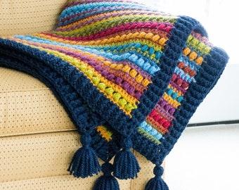 Crochet PATTERN - Bohemian Nights Blanket - crochet blanket pattern, afghan pattern, boho throw blanket w/ bulky yarn - Instant PDF Download
