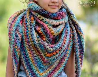 Crochet PATTERN - Boho Shawl - crochet shawl pattern, boho crochet wrap pattern, womens triangle shawl scarf pattern - Instant PDF Download