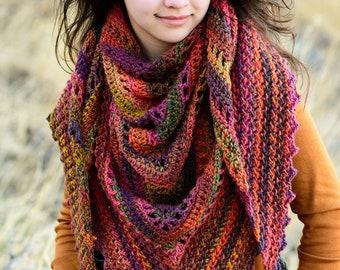 Crochet PATTERN - Hello Fall Shawl - crochet shawl pattern, crochet wrap pattern, womens triangle shawl scarf pattern - Instant PDF Download