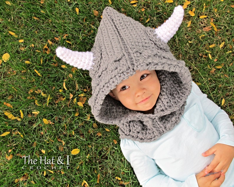 2ab109bf9 Crochet PATTERN - Viking Style - crochet hood pattern, hooded cowl, viking  hat pattern (Toddler Child Adult sizes) - Instant PDF Download
