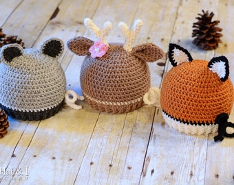 Crochet Hat PATTERN - Forest Friends - crochet pattern for raccoon deer fox beanie (Infant Baby Toddler Child Adult) - Instant PDF Download