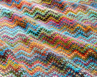 Crochet PATTERN - Renoir's Ripple - crochet blanket pattern, afghan pattern, colorful boho chevron throw blanket - Instant PDF Download
